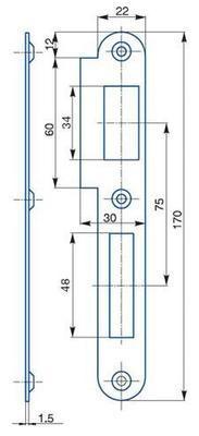Protiplech zapadací pro zámky s roztečí 72 mm K 182 Pravý - 2