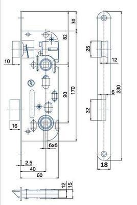 Zámek zadlabací 01-16 C P-L ( 6x6 ) - 2