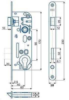 Zámek zadlabací 02-04 C P-L - 2
