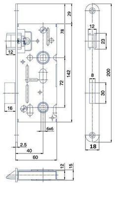 Zámek zadlabací K 111 C P-L ( 6x6 ) - 2