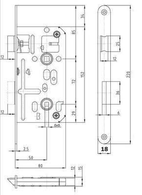 Zámek zadlabací K 135 C P-L ( 6x6 ) - 2