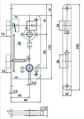 Zámek zadlabací 540.8 P-L ( 8x8 ) - 2