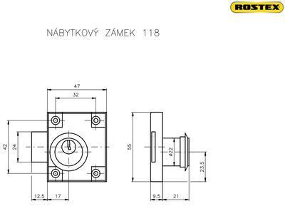 Zámek nábytkový ROSTEX 118 / 50 - 2
