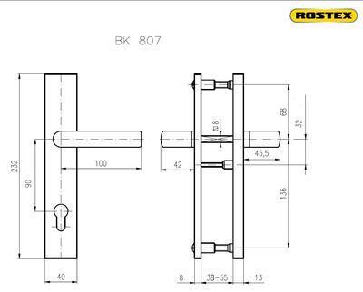 Bezpečnostní kování ROSTEX 807/90 CR - 2
