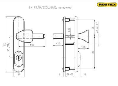 Bezpečnostní kování ROSTEX R1 /O/90 Exclusive Nerez-mat - 2