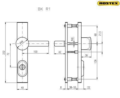 Bezpečnostní kování ROSTEX R1 / 72 CR - 2