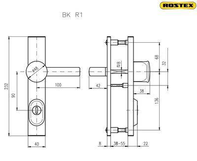 Bezpečnostní kování ROSTEX R1 / 72 CR s širokou drážkou - 2