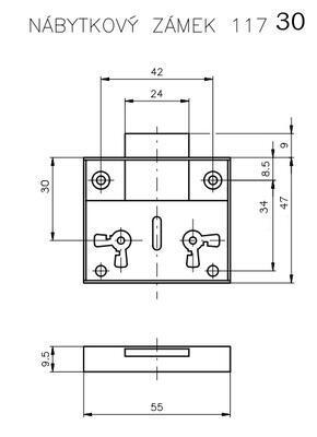 Zámek nábytkový ROSTEX 117 / 30 - 2