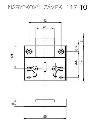Zámek nábytkový ROSTEX 117 / 40 - 2