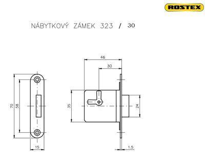Zámek nábytkový ROSTEX 323 / 30 Levý - 2