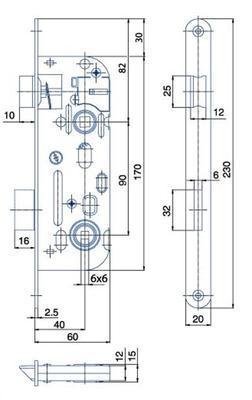 Zámek zadlabací 01-16 P-L ( 6x6 ) - 2