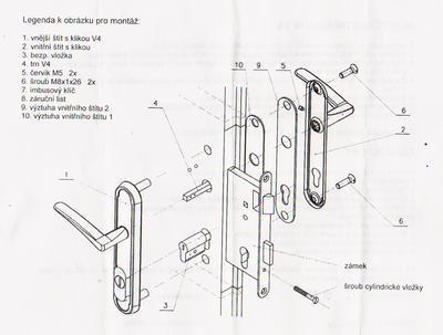Bezpečnostní kování VEMAK V4 / 72 CR - 7