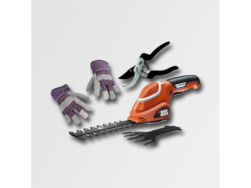 Black & Decker Aku nůžky na trávu 7,2V+nůžky a rukavice