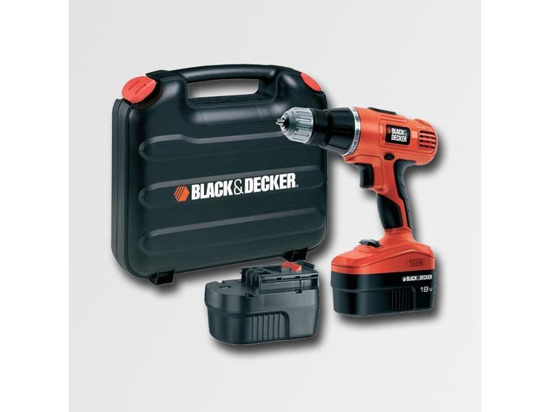 Black & Decker Aku vrtačka 18V, příklep, kufr, 2xaku