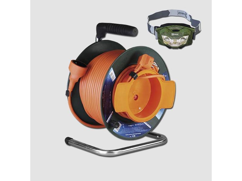 EMOS Prodlužovací kabel na bubnu 1Z 230V/50m + ZDARMA SVÍTILNA P3507